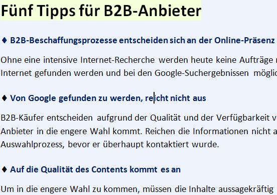 Technik-Marketing, Tipps B2B
